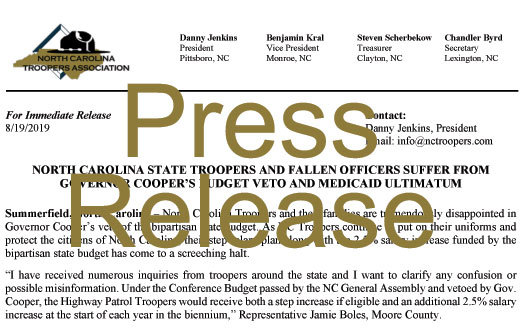 NC State Troopers and Fallen Officers Suffer From Governor Cooper's Budget Veto and Medicaid Ultimatum